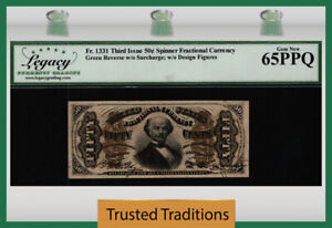 TT FR 1331 50 CENT THIRD ISSUE FRACTIONAL GREEN BACK SPINNER LCG 65 PPQ STUNNING