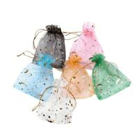 100PCS Christmas Drawstring Moon Star Organza Jewelry Charm Packaging Gift Bag