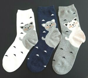 Ladies Cat Heeled Ankle Socks - Combed Cotton - Fits UK 4-7 (3 Colour Choice)
