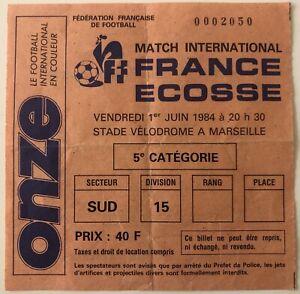 1984 France v Scotland Original Match Ticket - Marseille 01/06/84