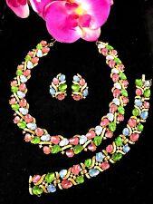 CROWN TRIFARI PASTEL GLASS ACORN FRUIT SALAD NECKLACE BRACELET EARRINGS PARURE