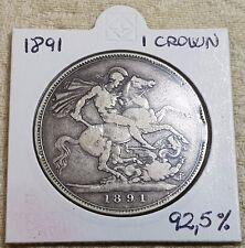 1891 Queen Victoria Jubilee Head Silver Crown Coin