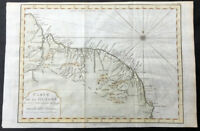 1773 Nicolas Bellin Original Antique Map of Guyana, South America