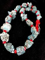 "Native American Sterling Silver Blue Turquoise Coral Necklace 21"" Rare"