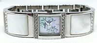 "Fossil ES-1402 ES1402 Rare Cuff MOP Pearl Floral Silver Women's Watch 7.5"" band"