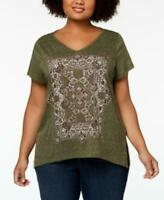 NEW Style & Co T-Shirt Plus Size 3X Graphic Split-Hem To Framed Tile $34