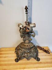 Vintage 1971 EF EF Industries Electric Brass Table Lamp #145-4, 3 Light Socket