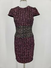 Dress the Population Bodycon Sequin Dress Cap Sleeves Size Small Pink Silver