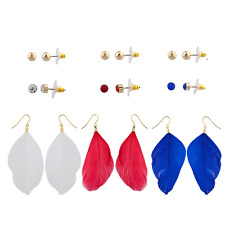 """Multi Earring Pack (9Pc) Lux Accessories Patriotic """"Feathers"""""""