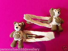 Girls Hair Clip LITTLE CHARLEY BEAR ( 2x  hairclip) teddy bear, Peppa Pig etc