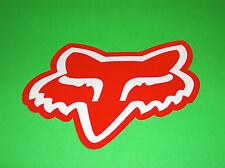 FOX  RACING MOTOCROSS QUAD BMX SKATEBOARD RED & WHITE FOX HEAD STICKER DECAL