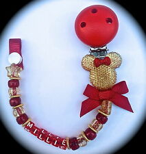 ❤ PERSONALISED - Your Name Choice ❤ Dummy Clip ❤ Gold & Red Sparkle ❤