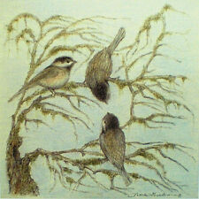 Art Greeting Card Picture Birds Chickadees Sparrows Trees Nature Drawing
