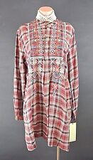 Johnny Was Tunic Dress XS Checkered Plaid Bohemian Blouse embroidered Western