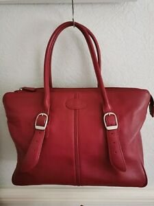 FILOFAX GENUINE LEATHER CHERRY RED LADIES LARGE WORK / OFFICE BAG BARELY USED