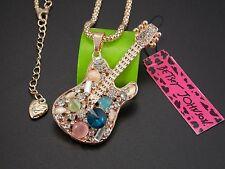 Betsey Johnson Shiny crystal gem guitar pendant Necklace #A142M