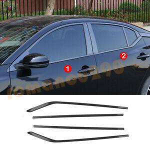 4X For Nissan Sentra 2020-2021 Steel Carbon Fiber Window Bottom Strip Cover Trim