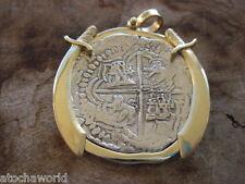 Atocha 8 Reale coin rare JUMBO Grade 1 Assayer B in14K Gold pendant w/Daggers
