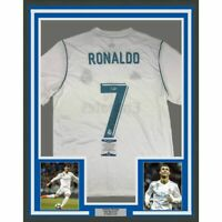 FRAMED Autographed/Signed CRISTIANO RONALDO 33x42 Madrid White Jersey BAS COA