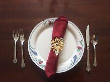 Dept 56 Vintage Poinsettia Napkin Ring & Place-card Holder Set of 4 Gold/Silver