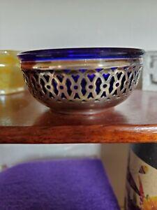 Webster Reticulated Sterling Silver & Cobalt Blue Glass Salt Dip Dish Cellar