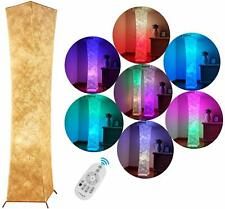 UK Standard Lamp RGB LED With Colour Bulbs Fabric Contemporary Standing Light
