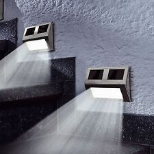 2 x Solar LED Wall Step Lights Stair Fence Outdoor Decking Garden Pathway