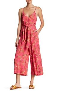 Free People Hot Tropics Jumpsuit XS Pink Floral Button Up Tie Waist BNWT RRP$185