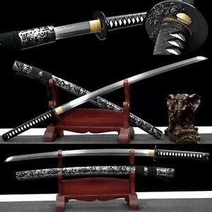 Handmade T10 Steel Clay Tempered Japanese Samurai Katana Full Tang Sharp Sword