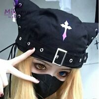 Black Cat Neko Kitty Kitten Ears Hat Cap Harajuku Cosplay Buckle Goth Visual Kei