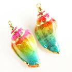 2Pcs+Gold+Edge+Natural+Rainbow+Conch+shell+Pendant+Bead+F89596