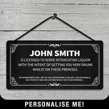 Personalised Hanging Bar License Sign Metal Plaque Pub Kitchen Vintage Retro Gin