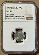 1927 Straits Settlements Ten Cents NGC MS 65 - Silver