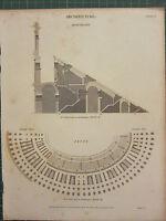 1819 Datato Antico Stampa ~ Architettura Amphitheatre Plan Arena