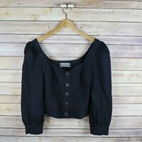 URBAN OUTFITTERS Women's 3/4 Sleeve Button Front Sweet Heart Puff Sleeve Top M