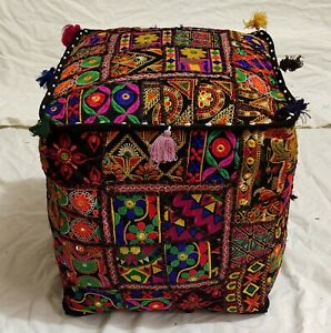 """Handmade Indian Cotton Poufs Cover Footstool Ottoman Patchwork 22X22X22"""" Inches"""