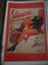 Vintage Vespa Scooter Pin Up Girl Art Poster Man Cave Garage Art Advertising