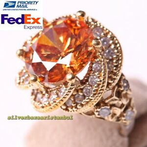 Turkish 925 Sterling Silver Heavy Round Citrine Stone Ladies Woman Ring All Size