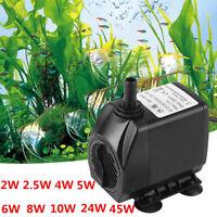 9Types 2-45W Ultra-Quiet Submersible Water Pump Fish Pond Aquarium Tank Fountain