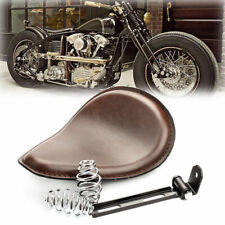 Brown Motorcycle Solo Seat w/ Spring Mounting Bracket For Harley Chopper Bobber