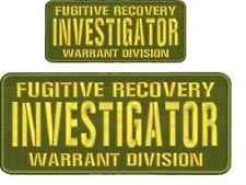 Fugitive Recovery INVESTIGATOR embroidery patch 4x10 & 2.5x6 hook od green