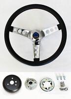 """1979-1984 Dodge D50 Pick Up Grant Black Steering Wheel 13 1/2"""" Chrome Spokes"""