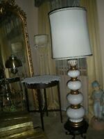 Mid Century White Ball Lamp pottery 48""