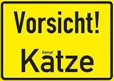 VORSICHT KATZE FUNSCHILD - 10x15 cm Blechkarte Blechschild 15015