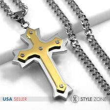 Unisex MEN Stainless Steel Gold Tone Angle Cross Pendant Cuban Curb Necklace 3B