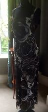 Beautiful Mother of the Bride black/grey printed silk two piece UK size 16