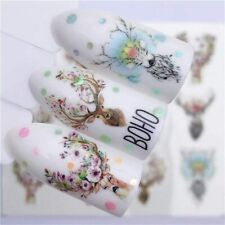 Nail Art Water Decals Transfers Spring Summer Flowers Floral Stags Head (3074)