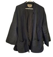 Zara Outerwear Jacket Size Medium Charcoal Embroidered Open Front Notched Lapel