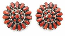 Zuni Sterling Silver Coral Petit Point Cluster Post Earrings - Marcine Stead