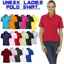 Uneek Ladies Polo Shirt, Classic UC106 (17)Colours (XS-4XL) Work Wear Causal Top